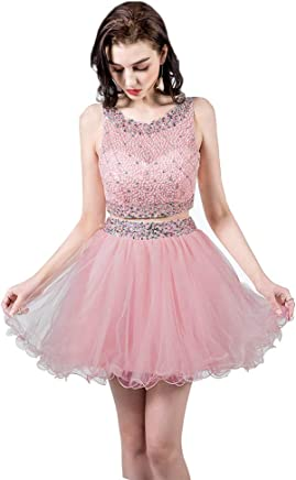 2b17e3ab5676 TANGFUTI Two Piece Homecoming Dresses Short Beaded Tulle Prom Gowns