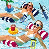 Inflatable Pool Floats for Adult Size, Floating Water Pool Hammock, Multi-Purpose Swimming Floaties Pool Saddle, Lounge Chair, Drifter, Portable Mesh Pool Chairs Lounger Noodle Raft Toys