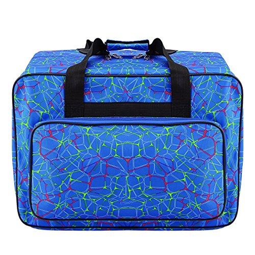 Bolsa de lona impermeable para máquina de coser de gran capacidad, bolsa de almacenamiento para máquina de coser, bolsa de mano portátil para viaje, bolsa de mano acolchada, con bolsillos y asa azul