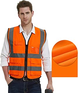 Gayisic ReflectiveSafetyVest, High Visibility, Bright Neon Color Construction Protector with Reflective Strips with Five Pockets (2XL/3XL, Orange)