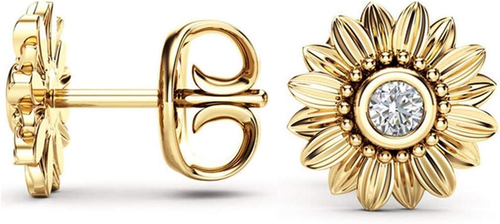 Cngstar Sunflower Earring Inlaid Rhinestone Jewelry Ear Stud Flower Gold Plated Earrings,Golden