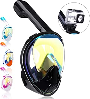 QingSong Full Face Snorkel Mask, Snorkeling Mask with Detachable Camera Mount, 180 Degree Panoramic View Anti-Fog Anti-Leak Anti-UV Snorkel Set for Youth Adult