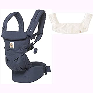 Ergo Baby Omni 360 All-in-One Ergonomic Baby Carrier with Teething Pad and Bib - Midnight Blue/Natural