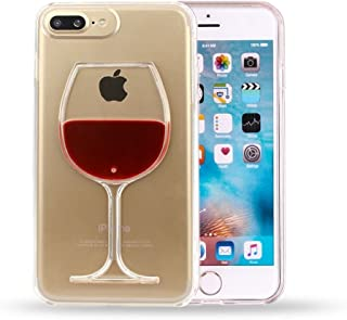 Sunday Gallery Fashion Creative 3D Design Flowing Liquid Red Wine Glass Clear Back Protective Case Cover For iPhone 7 Plus 5.5