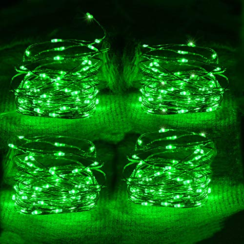 Awinking 4 Set of Led Green St Patrick#039s String Lights Battery Operated St Patrick Green Lights Copper Wire Green Fairy Lights for St Patrick#039s Day Decoration Irish Costomes Party Decor Christmas