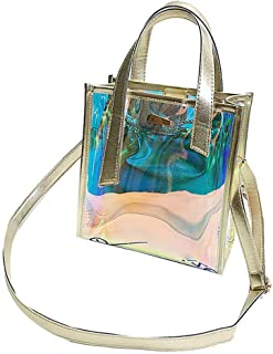 Elenxs Attractive Women Buckle Chain Handbags Girls Phone Bag Lady Transparent PVC Crossbody Shoulder Messenger Bags