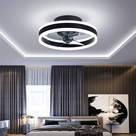 Ventilateur Plafonnier, Ventilateur de Plafond Silencieux avec Éclairage et Télécommande Plafonniers Ultra-minces 16.5cm Plafonniers 24w Dimmable Ventilateur pour Salon Chambre, Noir