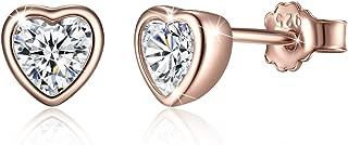 Heart Crystal Earring Rose Gold Plated Earring Tiny Love CZ Earring Stud Hypoallergenic Earring for Women Girl, 4mm