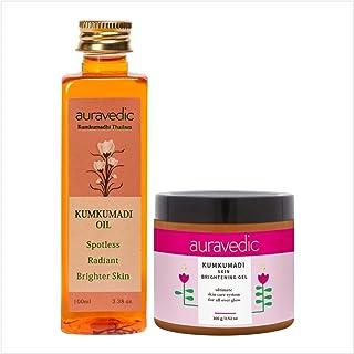 AURAVEDIC Kumkumadi Oil & Kumkumadi Skin Brightening Gel Night and Day Radiance, 100ml & 100gm