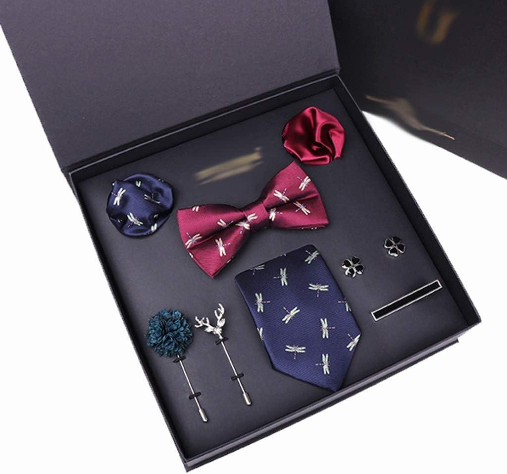 XJJZS Man Tie Hanky Cuff-Link Tie Clip Bowtie Brooch 8pcs Set Necktie Suit for Male Pocket Square Handkerchief Fashion Gift Box (Color : B)