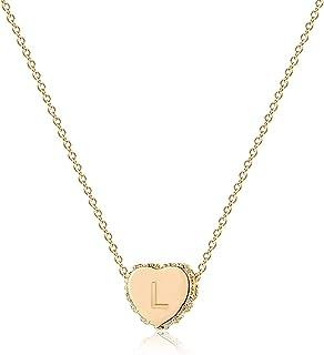OSIANA Collier ras du cou délicat avec pendentif en forme de cœur en plaqué or 18 carats fait à la main
