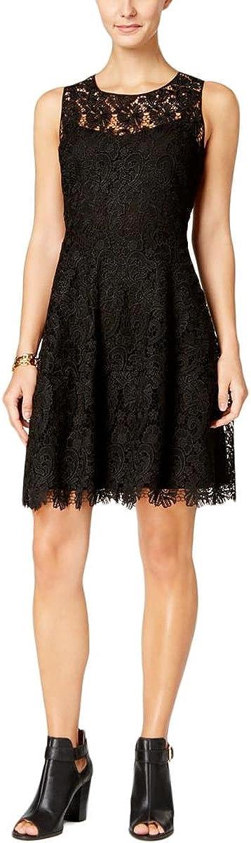 Tommy Hilfiger Women's Lace A-Line Sleeveless Dress (14, Black)