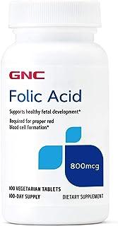 GNC Folic Acid 800mcg, 100 Vegetarian Tablets, Supports Healthy Fetal Development
