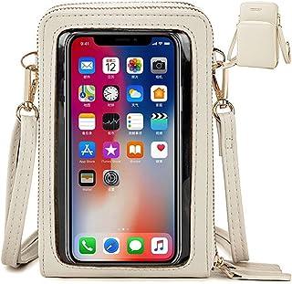 VEVESMUNDO Damen Handy Touchscreen Umhängetasche Crossbody Geldbörse klein Crossbody PU Leder Mini Karte Schultertasche Br...