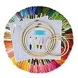 Elucku Stickerei Set Starter Kreuzstich Tool Set Stickerei Kit Anfänger Design mit 100 Farbfäden, 5 Bambus Stickrahmen 12 von 18-Zoll 14 Count Classic Reserve Aida und Nadeln Set