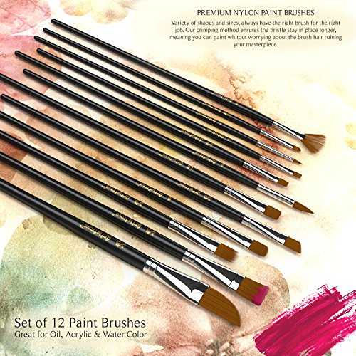 Paint Brush (Set of 12) - Premium Nylon Brushes for Watercolor, Acrylic & Oil Painting   Perfect For Painting Canvas, Ceramic, Clay, Wood & Models - Let Artistrove Brushes Bring Your Painting to Life! Photo #7