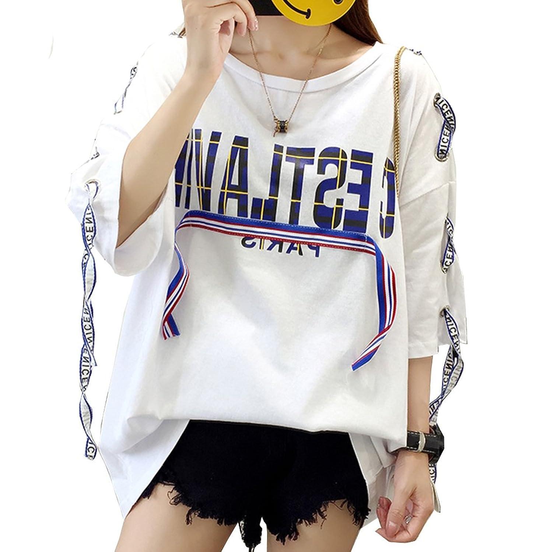 [美しいです]長いセクションで夏香港bfの緩い穴のレターの印刷綿原宿半袖Tシャツの女性