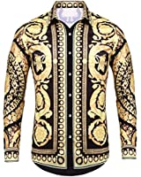 Pacinoble Mens Long Sleeve Cotton Luxury Design Shows Skinny Hawaiian Tropical Party Daily Life Allover Print Dress Shirt (Gold S)
