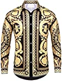 Pacinoble Mens Casual Button Down Shirt Fashion Luxury Casual Traditional Tailored Slim Fit Stylish Long Sleeve Dress Shirts (Gold L)