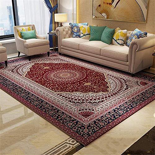 ANBAI Tapis Doux et Confortables Salon de Style Persan Grand Tapis Design Floral Rouge foncé Beaux Tapis de Filles