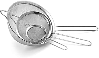 K BASIX Fine Mesh Stainless Steel Strainer Set of 3 - Large, Medium & Small Size - Ideal to Strain Pasta Noodles, Quinoa, Cocktails, Tea, Sift & Sieve Flour & Powdered Sugar - Free EBook