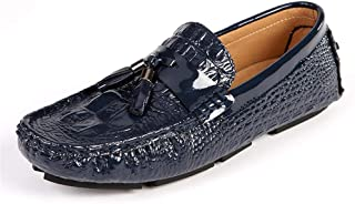 ZiWen Lu Driving Loafer for Men Boat Moccasins Slip On Style OX Leather Fashion Crocodile Embossed Texture Classic Tassel (Color : Blue, Size : 5.5 UK)