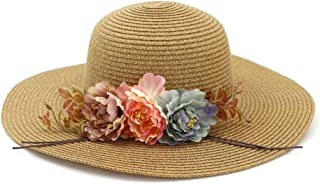 PengCheng Pang Spring Summer Sun Hat Fashion Ladies Foldable Straw Hat Grass Flower Sunscreen Beach (Color : Coffee, Size : 56-58CM)