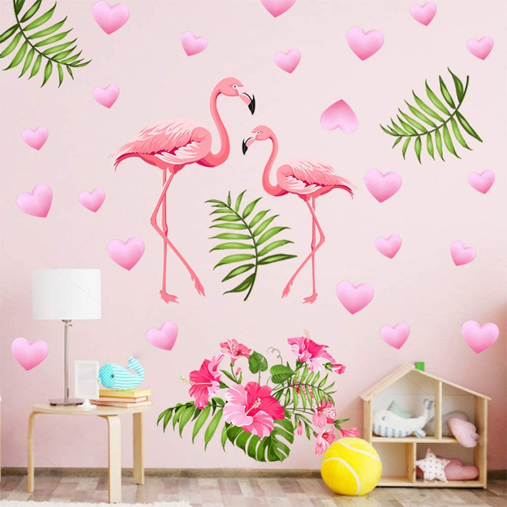 LAKL Flamingo Green Leaf Blue Pink Flowers Wall Decal, Peel and Stick Removable Flamingo Wall Print Stickers Pictures Mural for Entrance End of Corridor Living Room Bedroom (Multicolor2)