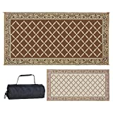 REVERSIBLE MATS Outdoor Patio/RV Camping Mat - Brown/Beige - Classical Mat (9 Feet x 18 Feet)