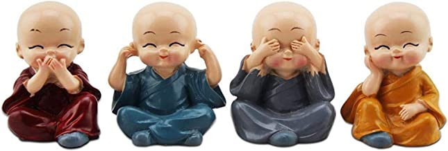 4pcs Small Monks Sets Statue Sage Kung Fu Buddha Figurine Resin Micro Monk Crafts Car Ornaments Home Decor Gift