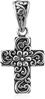 925 Sterling Silver Hope Faith Flower Prayer Religious Cross Pendant Necklace Jewelry 2.6 g