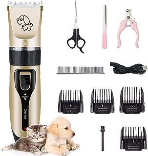 DoGeek Maquina para Cortar Pelo de Perros para Mascotas 12 Set Cortapelos Perros Profesional Inalámbrico Recargable y de Poco Ruido para Perros, Gatos o Cualquier Animal (12PCS)