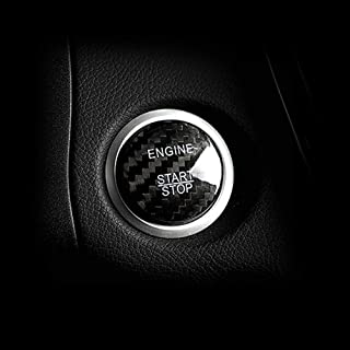 Huichi Carbon Fiber Car Engine Start Stop Button Cover Keyless Go Ignition Stickers for Mercedes Benz A B C GLC GLA CLA ML GL Class W176 W246 W205 X 253 X156 C117 & Infiniti QX30 Q30(Black)