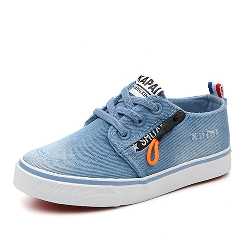 [XINXIKEJI] ローカット スニーカー 子供靴 レースアップ 女の子 男の子 ガールズ ボーイズ キッズシューズ デッキシューズ 17.0-23.0cm 履きやすい 滑り止め 通気 軽い 星柄 コンフォート 可愛い 通学靴 運動靴 ネイビー ブルー