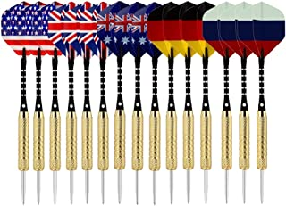 VENNOBIA Darts, 15 Pieces Steel Tip Darts Set 18 Grams with Flghts Aluminum Shafts,Brass Barrels and Dart Sharpener
