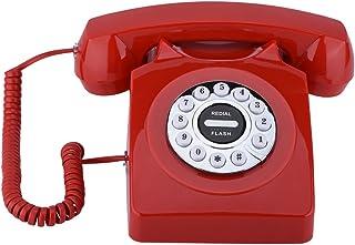 Fosa アンティーク電話機 電話クラシックオールドファッションランド 電信 電話 ホーム・ホテルなどに対応 アンティークレトロコード付き ヨーロッパ風 装飾電話機 (レッド)