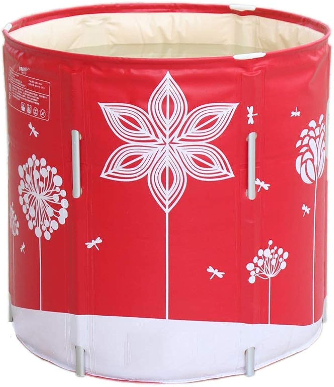 KANGSHENG Faltbare Badewanne Badewanne Nicht aufblasbare Badewanne Verdickungswanne Legierungsaufzüge Eingebaute Kissen Krper Gesteppt Rot 70  70 (Farbe   Rot)