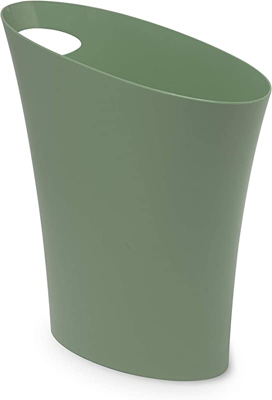 Umbra Skinny Sleek Stylish Bathroom Trash Small Garbage Can Wastebasket For Narrow Spaces At Home Or Office 2 Gallon Capacity Spruce Single Pack
