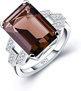 ANGG Women 9.4ct Emerald Sapphire Smoky Quartz Ring Engagement Wedding Jewelry 925 Sterling Silver