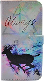 iPhone 7 Plus Case - Unique Deathly Hallows Always Deer Splatter Pattern Slim Wallet Card Flip Stand PU Leather Pouch Case Cover for Apple iPhone 8 Plus (2017) Cool as Great Gift