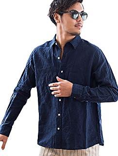 (キャバリア)CavariA メンズ フレンチリネン シャツ レギュラーカラー 長袖 無地 麻 リゾート CAIR20-02【+】