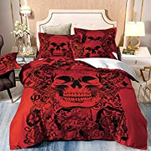 Cráneo rojo Juego de funda nórdica Juego de sábanas de tatuajes góticos 3 piezas Juego de colchas con funda de almohada con motivos florales para Halloween Tamaño único para adultos 135 * 200 cm