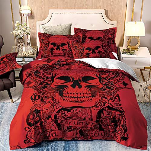 WONGS BEDDING Bettwäsche 3D Roter Schädel Bettbezug Set 200x200 cm Bettwäsche Set 3 Teilig Bettbezüge Mikrofaser Bettbezug mit Reißverschluss und 2 Kissenbezug 50x75cm