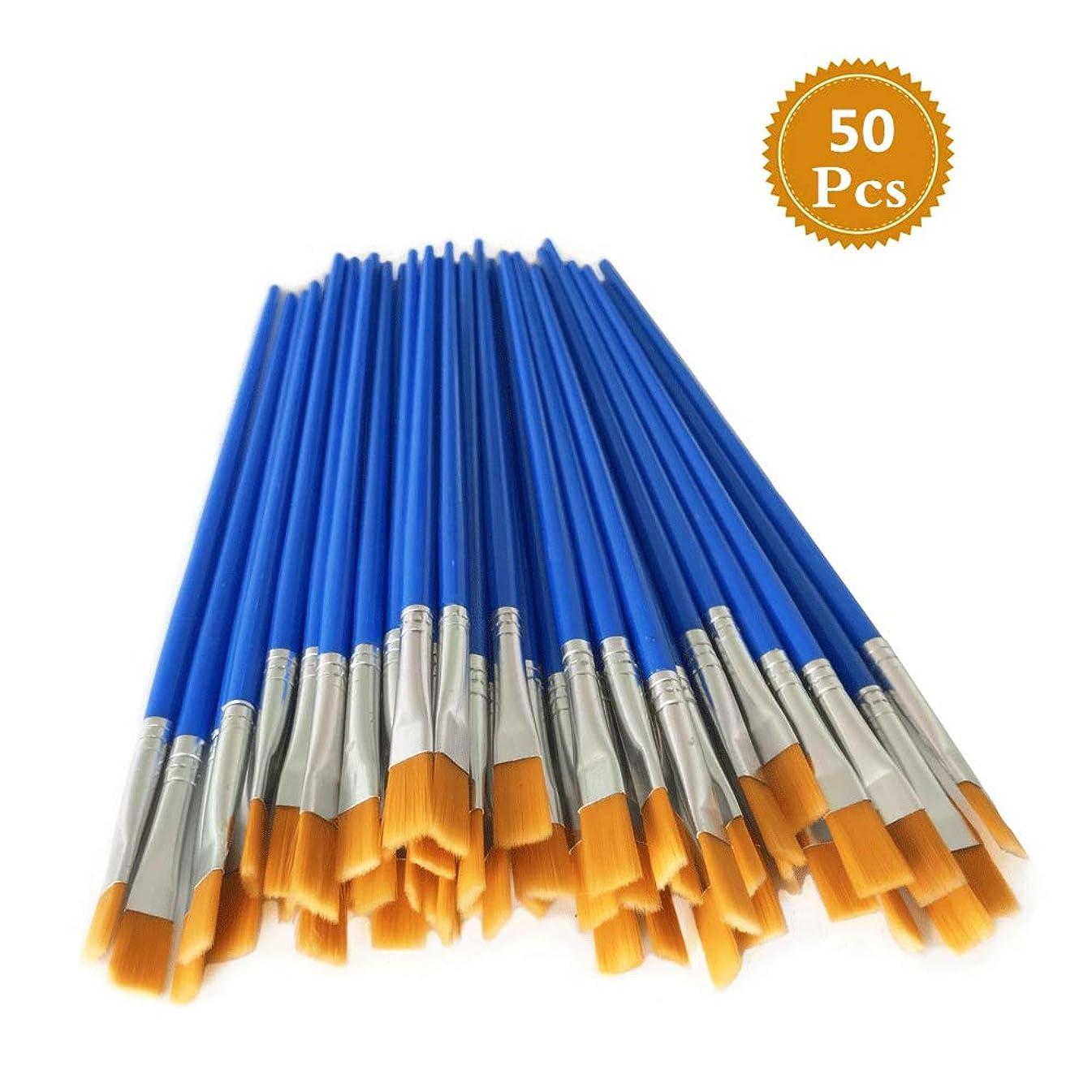 Paint Brushes Set 50 Pcs Kids Nylon Flat Hair Acrylic Small Oil Watercolor Artist Painting Kits Bulk for Children