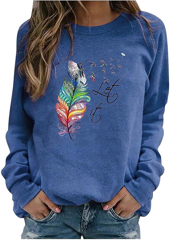 FABIURT Long Sleeve Shirts for Women,Women's Casual Fall Pullover Vintage Graphic Crewneck Sweatshirt Tunic Tee Tops