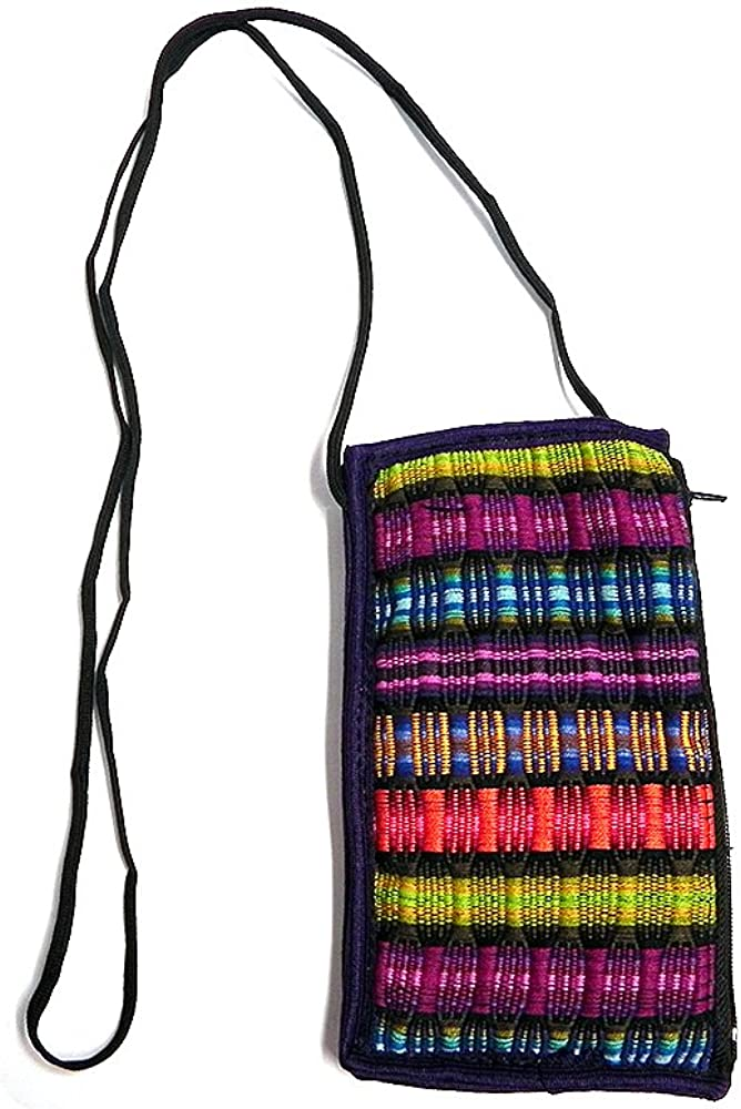 Multicolored Woven Striped Cushioned Soft Eyeglasses Pouch Sunglasses Holder with Strap Handmade Bag