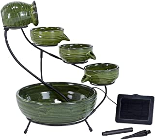 Smart Solar 23931R01 Ceramic Solar Cascading Fountain, Glazed Green Bamboo Design, Powered by an Included Solar Panel That Operates an Integral Low Voltage Pump with Filter
