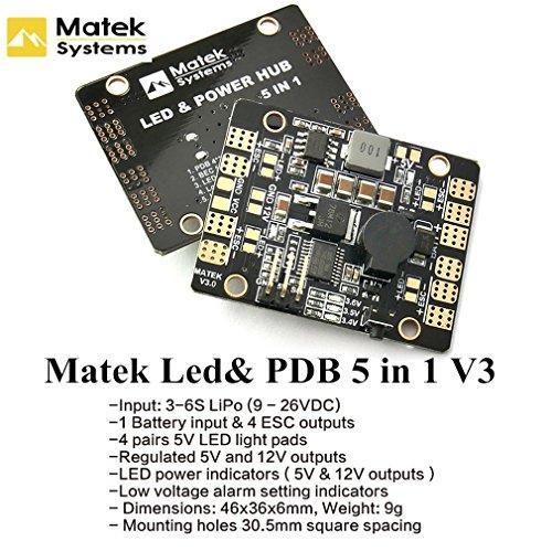 Matek Systems V3 Power Distribution Board PDB 5 in 1 with 5V 12 V BEC& LED Light Controller&Lost Tracker&low Voltage Alarm