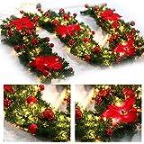 Weihnachtskranz mit LED Lichterkette Beleuchtung 270cm Weihnachtsgirlande künstlich Weihnachten Girlande Weihnachtsdeko Weihnachten, Türkranz Innen und Außen (rot) - 5