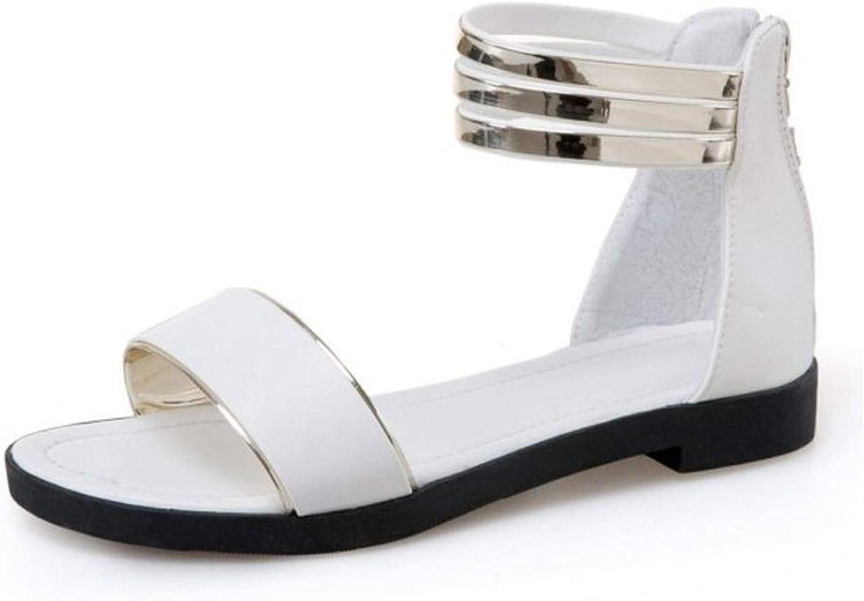 Women Flats Sandals Open Toe Zipper Women Sandals Korean Sandals Woman Holidays Footwear,White,7